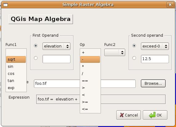 Raster Algebra Plugin for QGIS